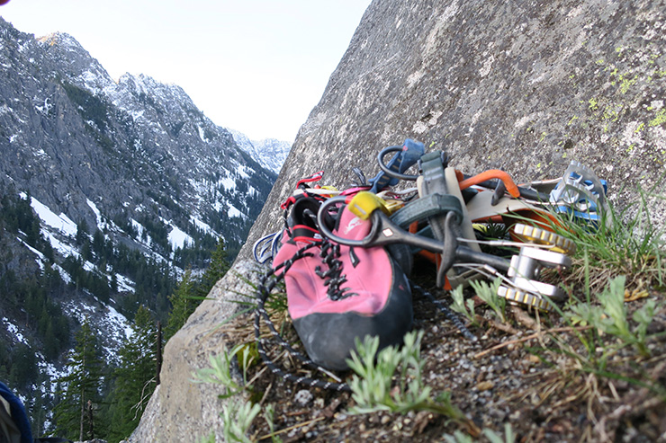 Trad gear climbing Outer Space